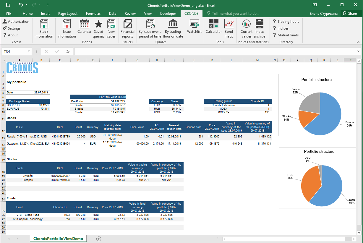 Main world benchmark in Excel in 2 clicks